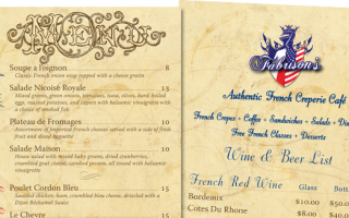 Fabrisons Authentic French Cafe and Creperie | Dinner Menu
