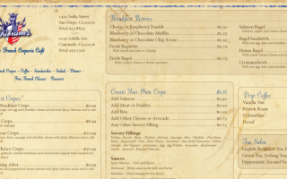 Fabrisons Authentic French Cafe and Creperie | Table Menu